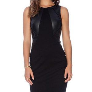 Bailey 44 Word Pyramid Dress Faux Leather Panel
